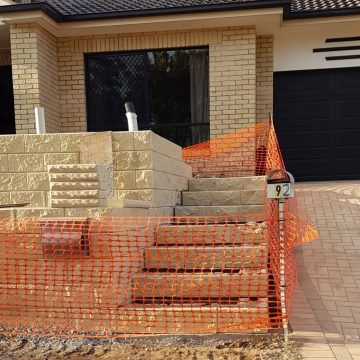 During_construction_of_stairs using_TrendStone_Retaining_Wall